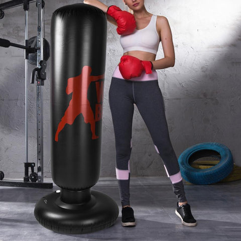 1.6m Adjustable PVC Inflatable Boxing Punching Kick Training Tumbler Bag Indoor Sports Training