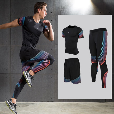 Men's Sports Sets Compression Shirts Leggings with Shorts Running Joggers Fitness