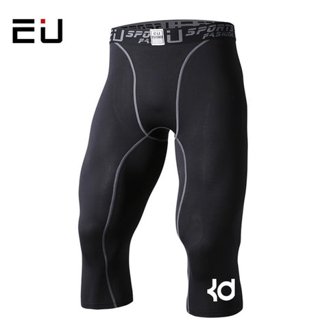 Men's Compression Tights 3/4 Shorts Tight Black Fitness Leggings Slim Fit