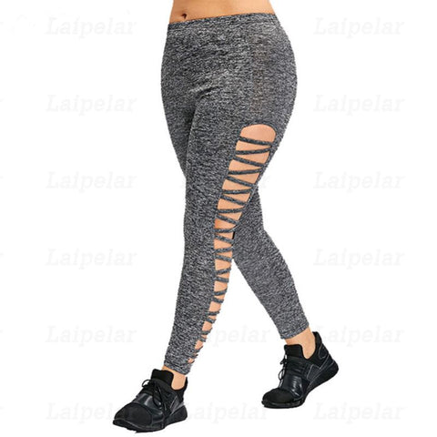 Laipelar Women's  Leggings Hollow Out High Waist Plus Size
