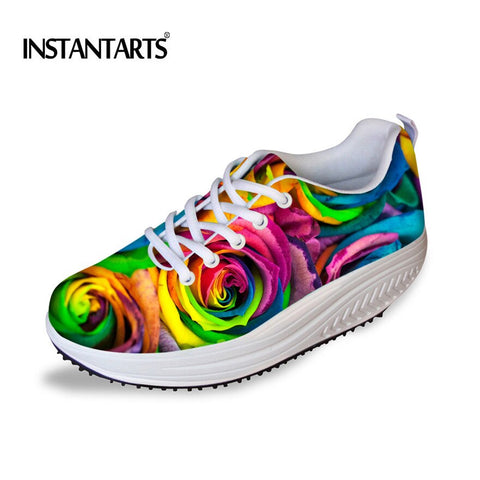 INSTANTARTS Floral Printing Women's Sport Fitness Shoes Swing Toning Shoe