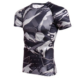 NEW Brand Quick Dry Compression Men's Short Sleeve T-Shirts men Running Sports T Shirt Gym Camo Sportswear Rashgard Male T Shirt