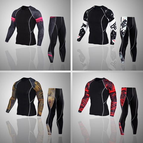 Compression suit up to 4xl tights/ t-shirts thermal underwear MMA rash guard Suit