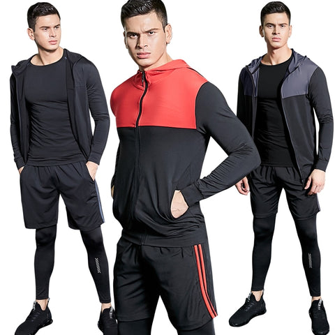 Men's 4PCS Suit Gym Training Fitness Athletic Workout Clothes