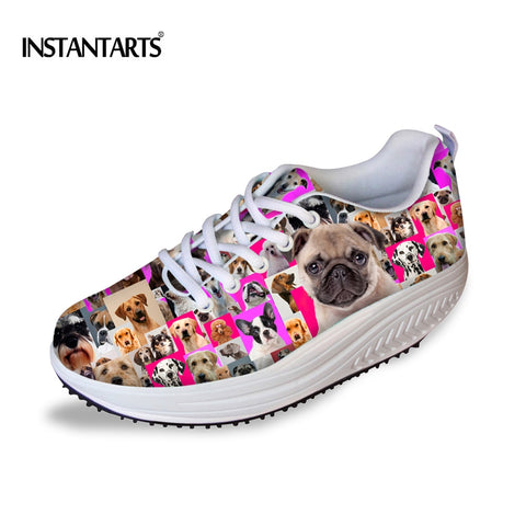 INSTANTARTS Women's Animal Dog Puzzle Print Sport Toning Shoes