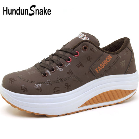 Hundunsnake Sport Sneakers Women Leather Running Ladies Swing  Basket