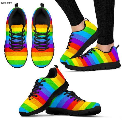 INSTANTARTS Rainbow Pride Pattern Shoes Women / Men Lace Up Air Mesh Shoes
