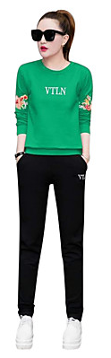 Women's Tracksuit 2pcs Plus Size Suit Long Sleeve Activewear #06852435