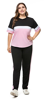 Women's Cotton Tracksuit  Plus Size Compression Shirt / Pants Activewear  #07538862