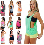 Women's Built In Bra Tank Workout Vest #07879318