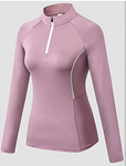 Women's Collar Compression Shirt Zip Front Long Sleeve #07826241