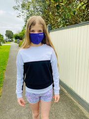 Nwaoma Australia three layer face mask with filter purple on girl