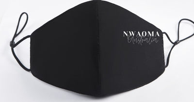 Nwaoma Australia three layer face mask with filter black on white background