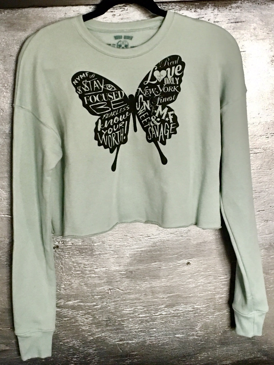 THE BUTTERFLY ladies sponge fleece cropped crew neck sweat shirt