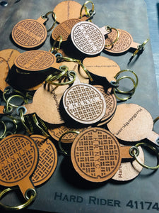 Leather HR SEWER COVER key chains