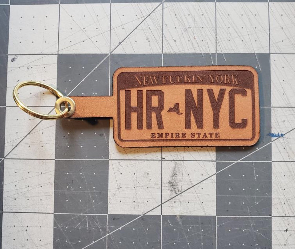 Leather NY license plate key ring