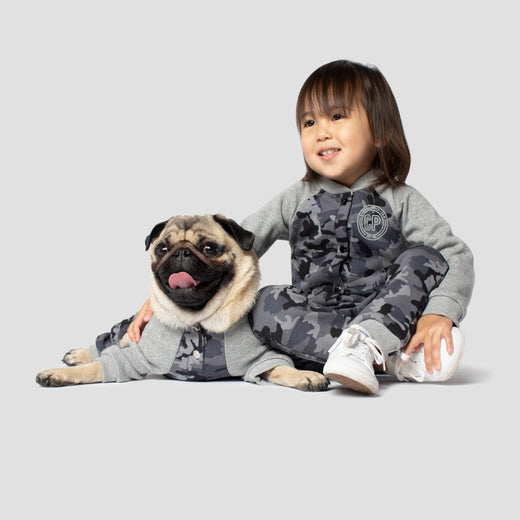 Frosty Fleece Kids Sweatsuit in Black Camo, Canada Pooch Kids Sweatsuit