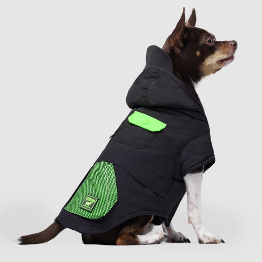 The Renew Dog Parka in Black, Canada Pooch