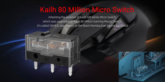 Kailh GM 8.0 Black 80M Micro Switch (2 pcs)