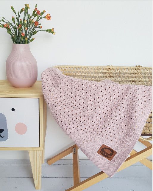 LIGHT KNITTED BABY BLANKET - PINKY DUST - Babyllama store