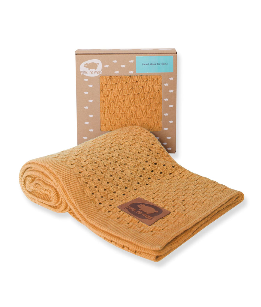 LIGHT KNITTED BABY BLANKET - MUSTARD - Babyllama store