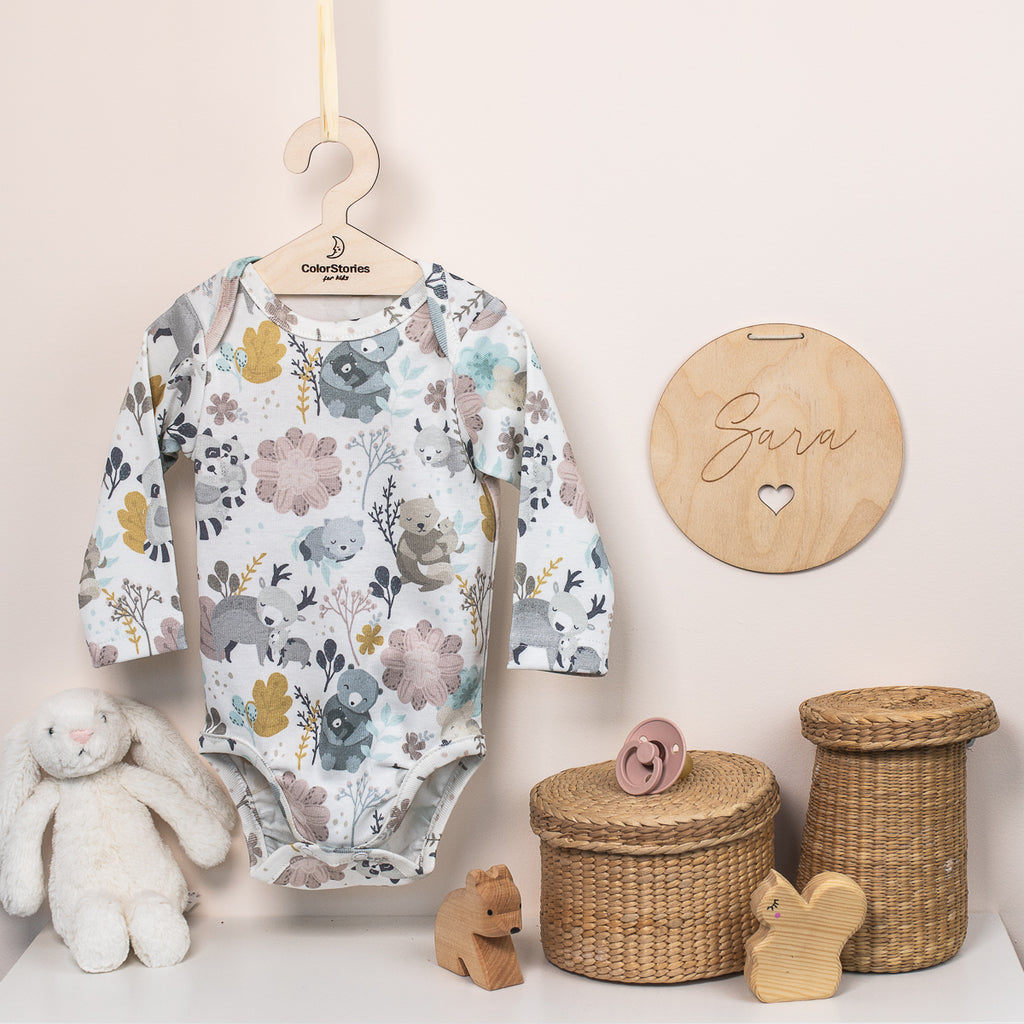 LONG SLEEVE COTTON BODYSUIT - MUM & ME - BABYLLAMA STORE