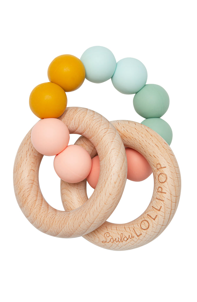 BUBBLE SILICONE AND WOOD TEETHER - RAINBOW-Teether-Babyllama store