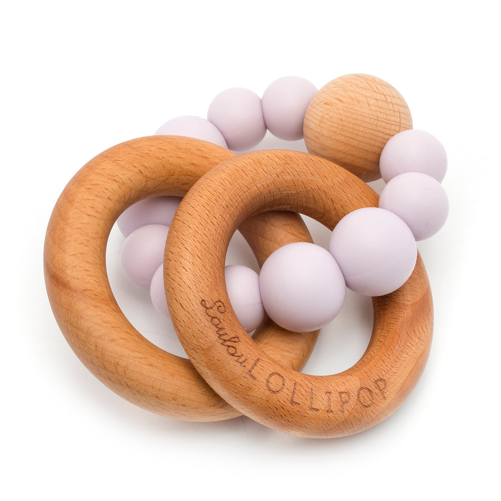 BUBBLE SILICONE AND WOOD TEETHER - LILAC-Teether-Babyllama store