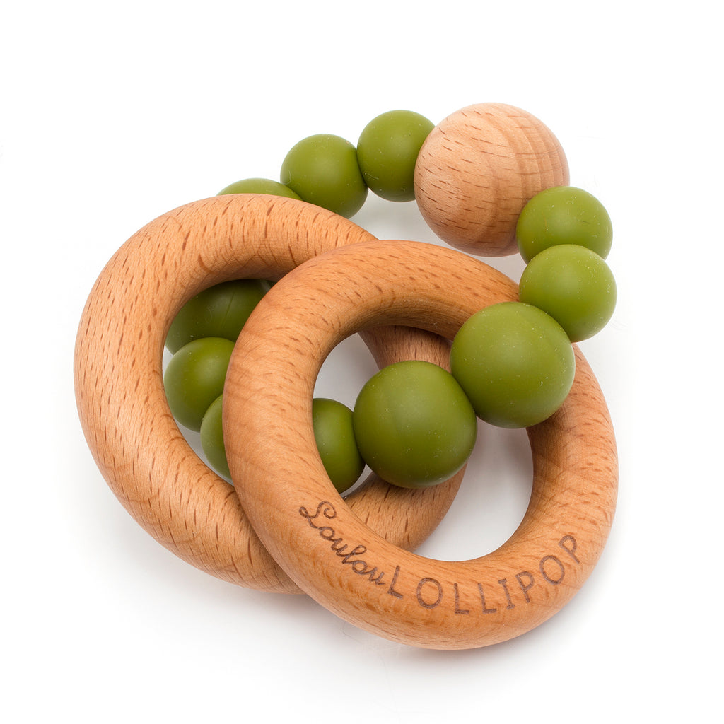 BUBBLE SILICONE AND WOOD TEETHER - OLIVE-Teether-Babyllama store