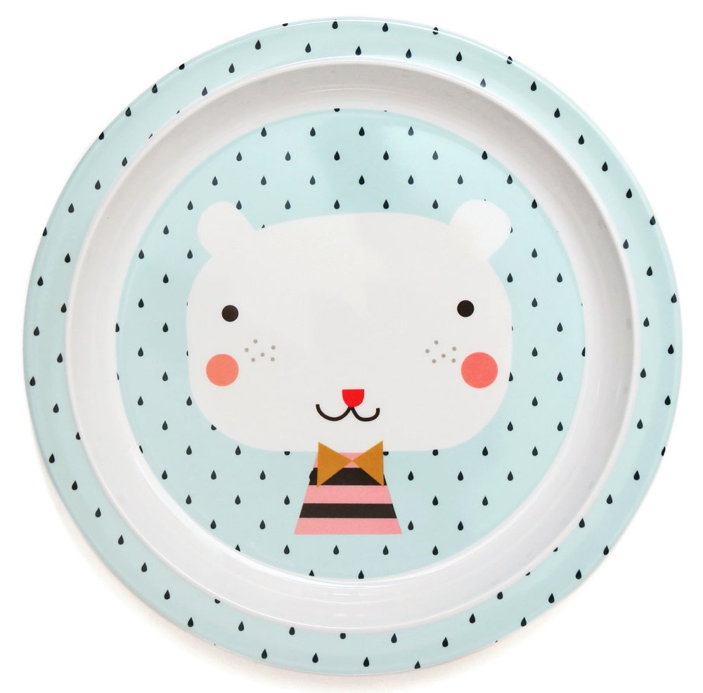 MELAMINE PLATE - BEAR DROPS BLUE BORDER-Tableware-Babyllama store