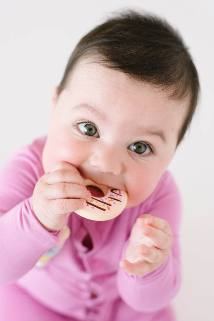 SILICONE TEETHER - DONUT PINK-BABYLLAMA STORE