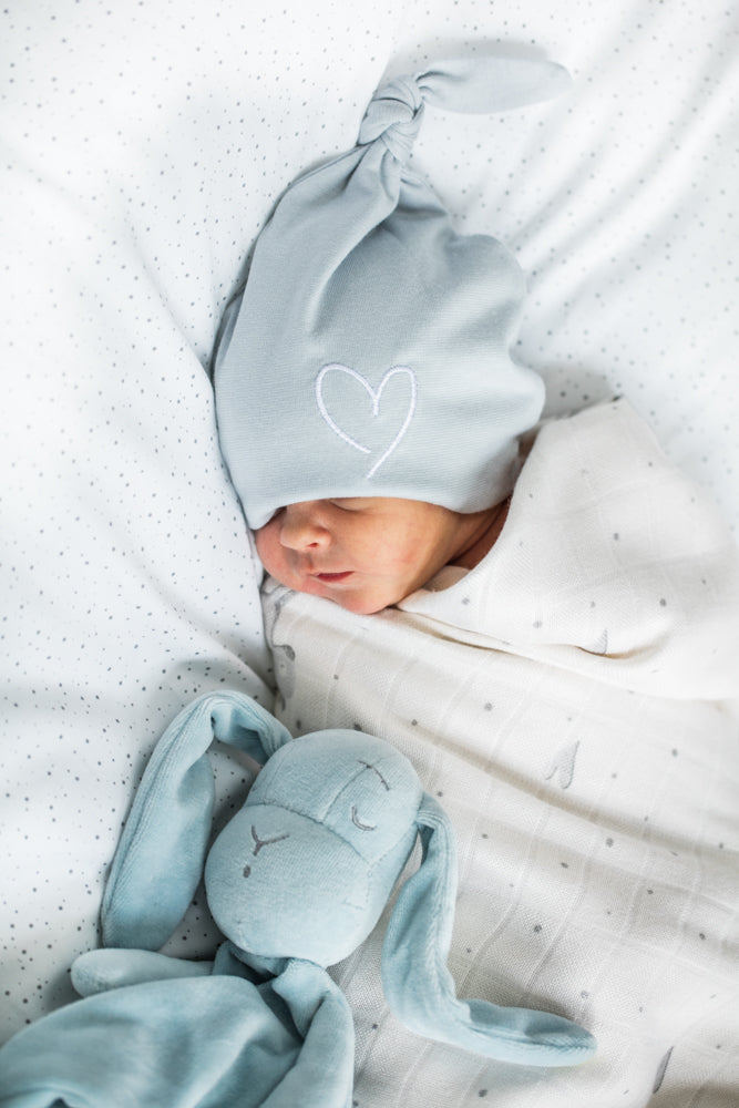 NEWBORN BABY HAT - BLUE WITH HEART-Wear-Babyllama store