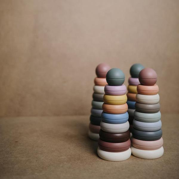 Mushie Stacking Ring Tower - Rustic - Babyllama store