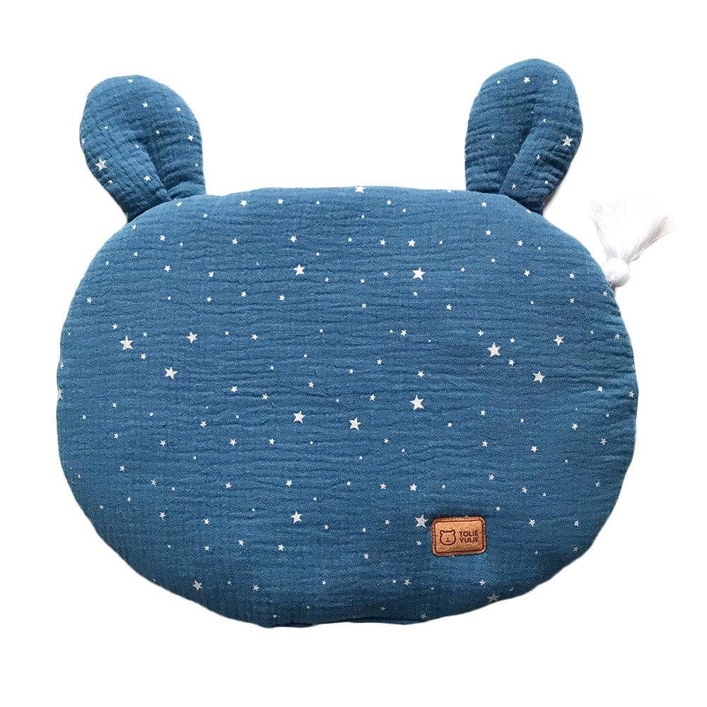 FLAT MUSLIN PILLOW WITH EARS - BLUE SHINY-Pillow-Babyllama store