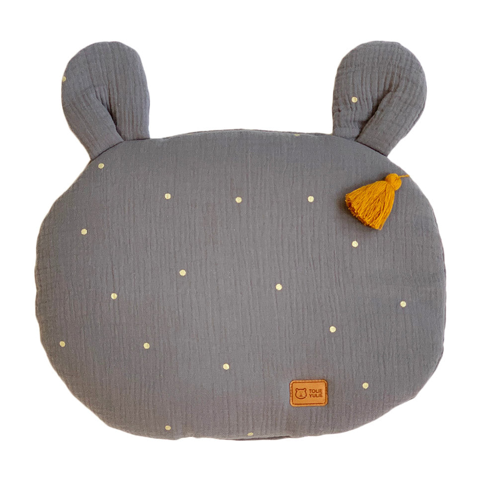 FLAT MUSLIN PILLOW WITH EARS - ELEPHANT GOLD-Pillow-Babyllama store