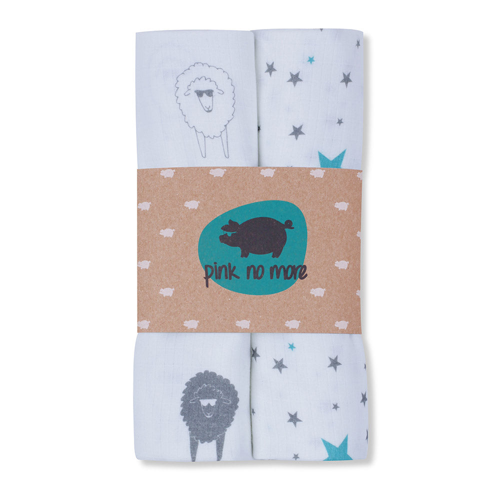 MUSLIN NAPPIES - SHEEP & STARS 2PACK-Nappies-Babyllama store