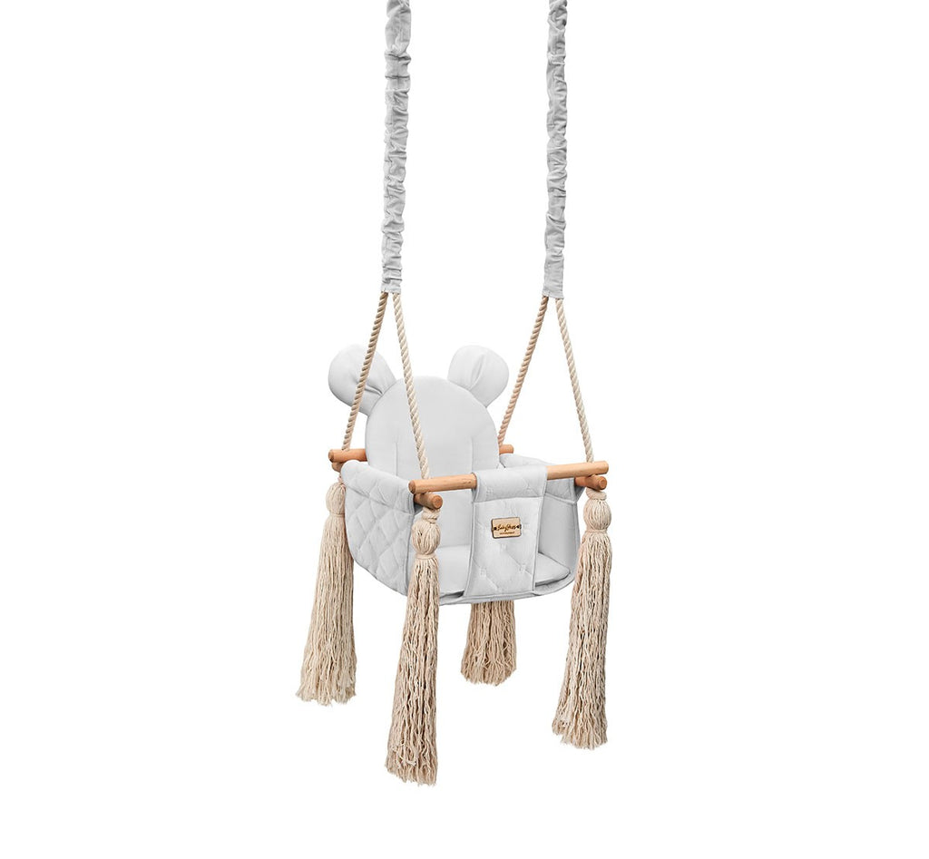 VELVET INDOOR SWING - GREY - Babyllama store
