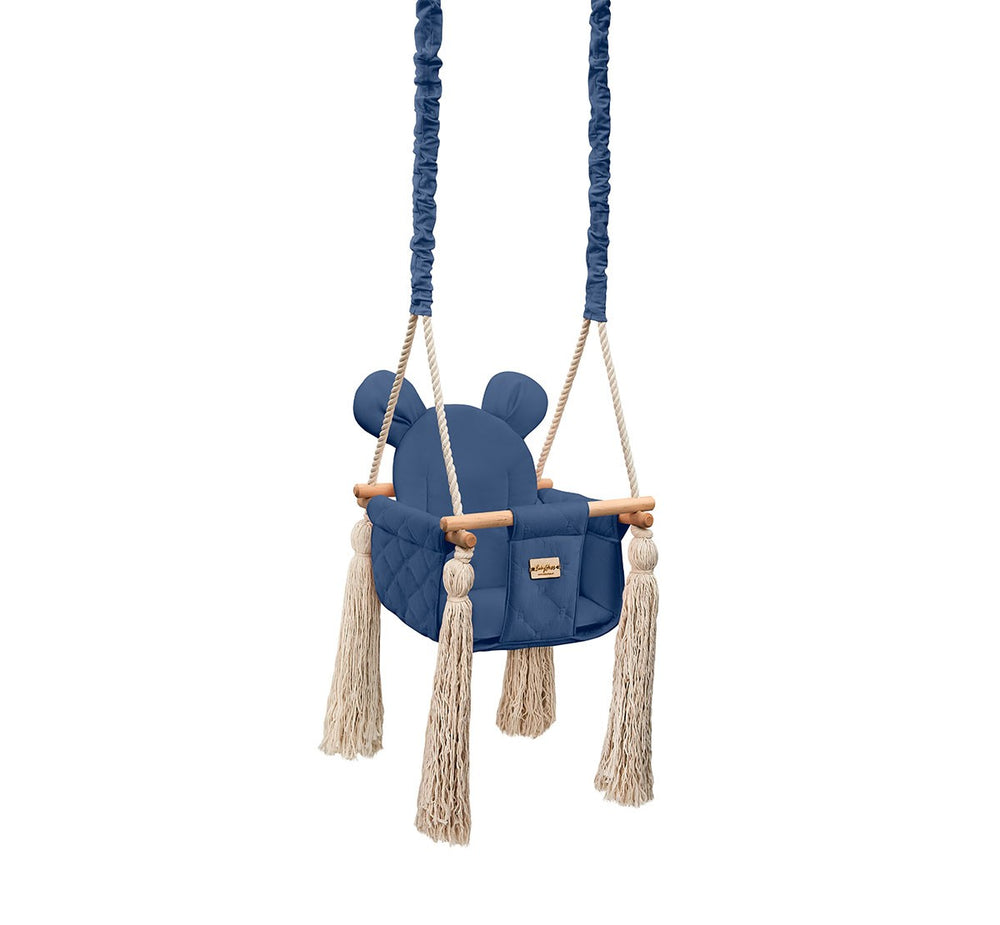 VELVET INDOOR SWING - NAVY - Babyllama store
