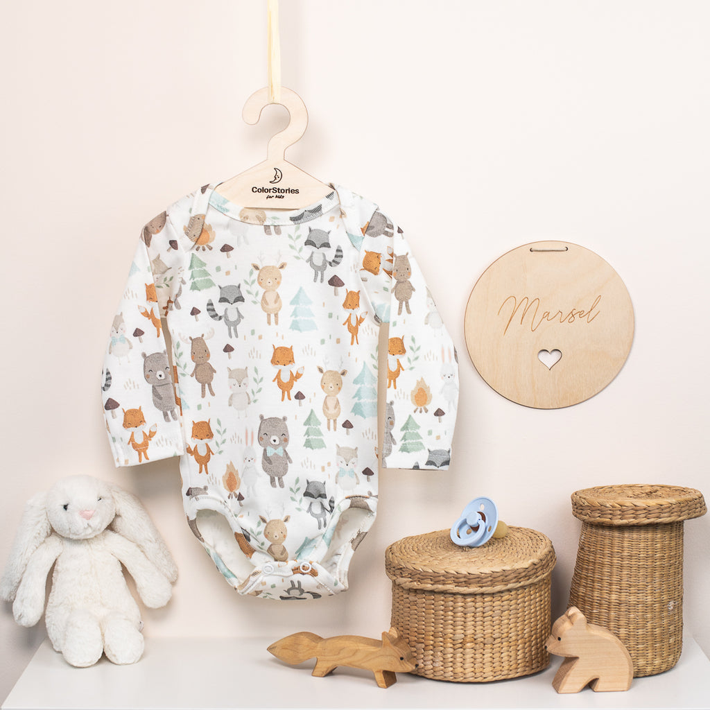 LONG SLEEVE COTTON BODYSUIT - WOODLAND - BABYLLAMA STORE