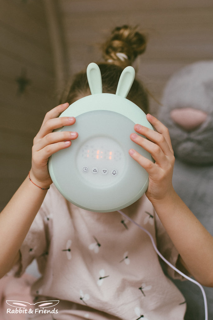 NIGHTLIGHT WITH CLOCK - GREEN BUNNY-Nightlight-Babyllama store