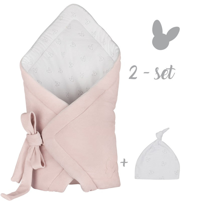 NEW BABY SET - PINK VELVET SWADDLE BLANKET + BEANIE HAT-Swaddle Blanket-Babyllama store