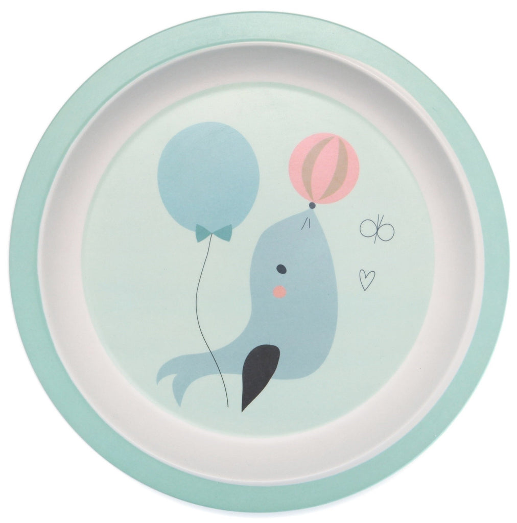 BAMBOO PLATE - SEAL BLUE-Tableware-Babyllama store