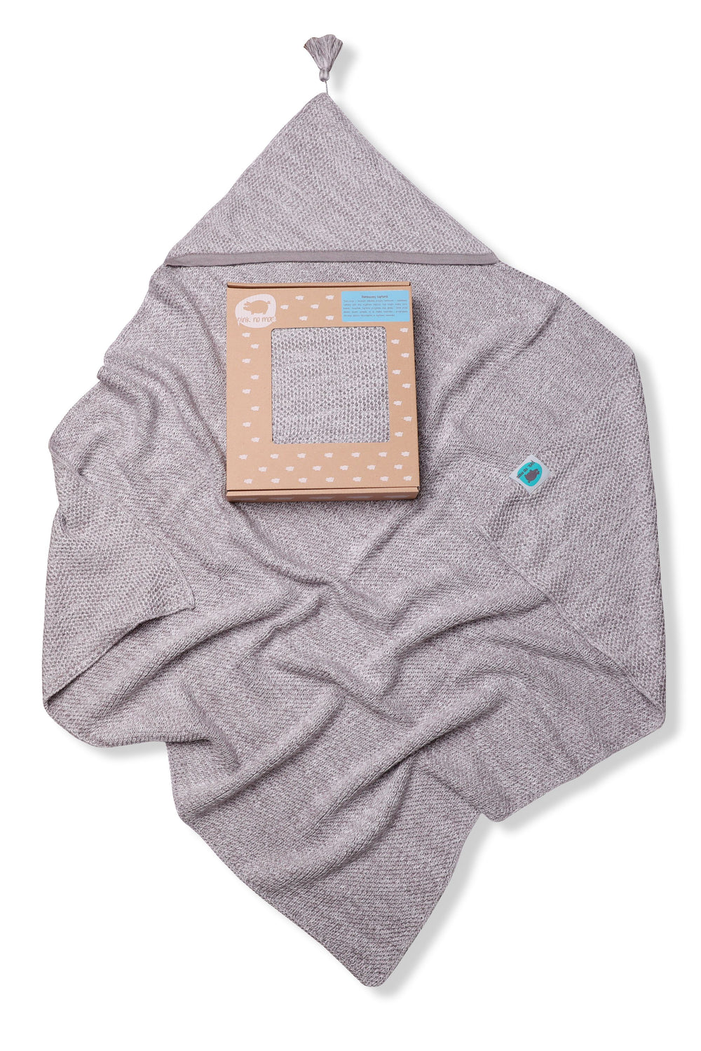 KNITTED BLANKET WITH HOOD - GREY - Babyllama store
