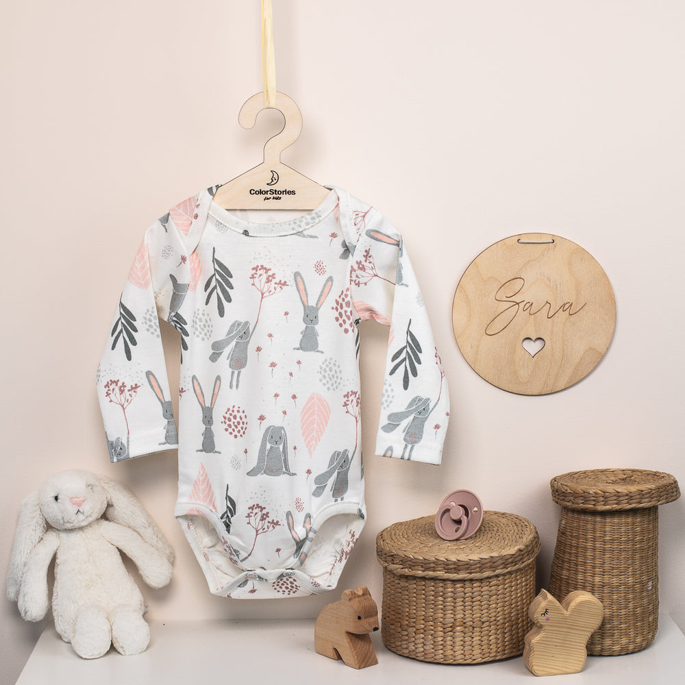 LONG SLEEVE COTTON BODYSUIT - BUNNY - BABYLLAMA STORE