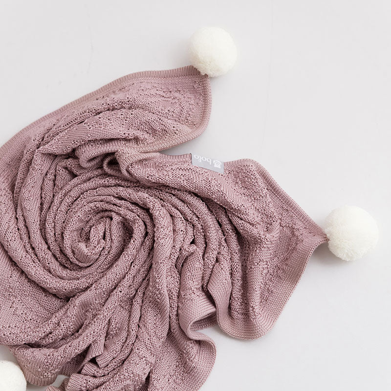 Bamboo Blanket with Hood & Pompoms - Dusty Pink - Babyllama store