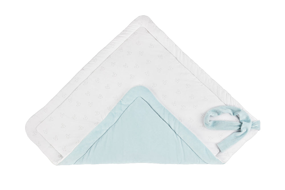 NEW BABY SET - BLUE VELVET SWADDLE BLANKET + BEANIE HAT-Swaddle Blanket-Babyllama store