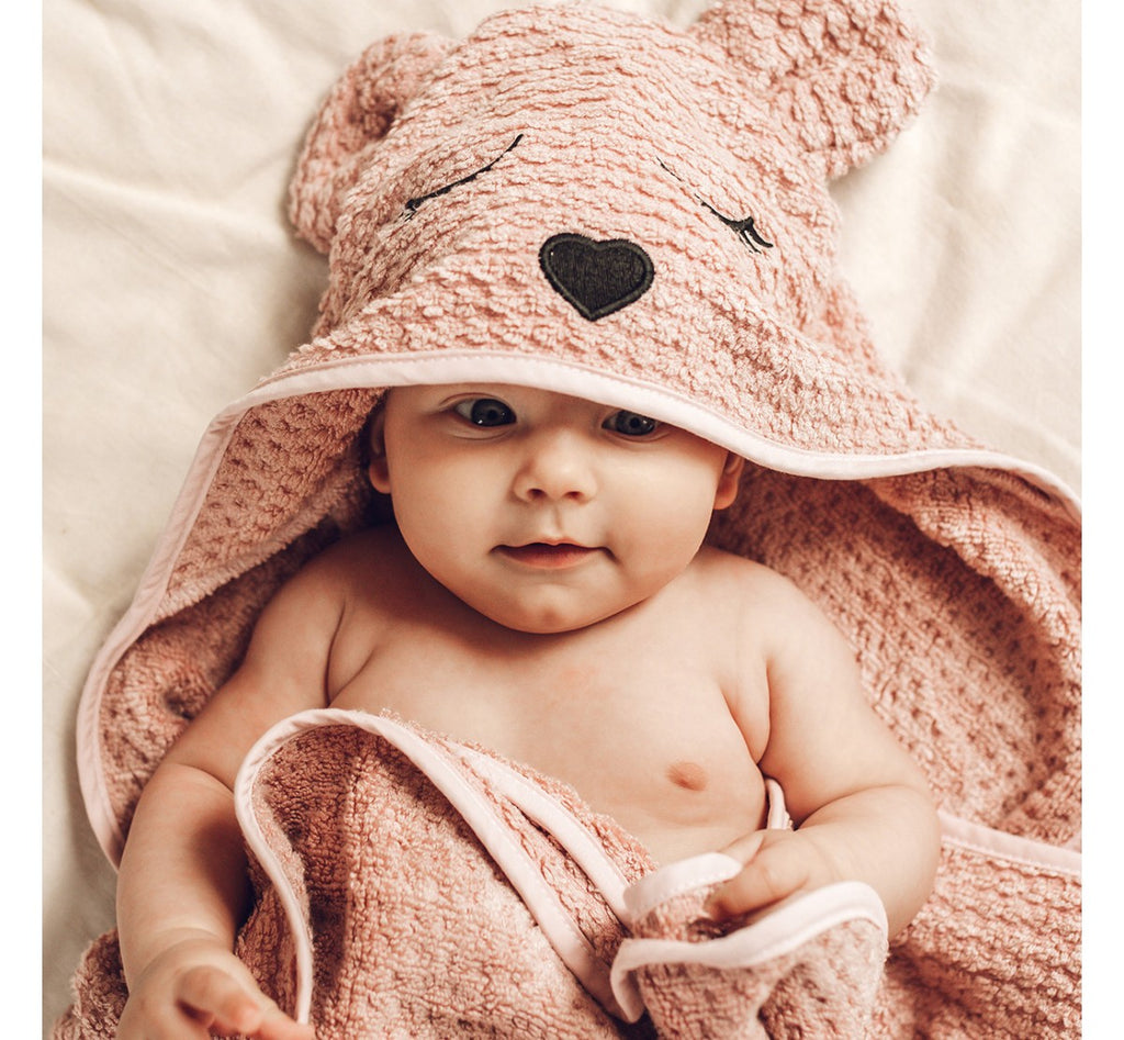 HOODED BAMBOO TOWEL - SEPIA ROSE - BABYLLAMA STORE