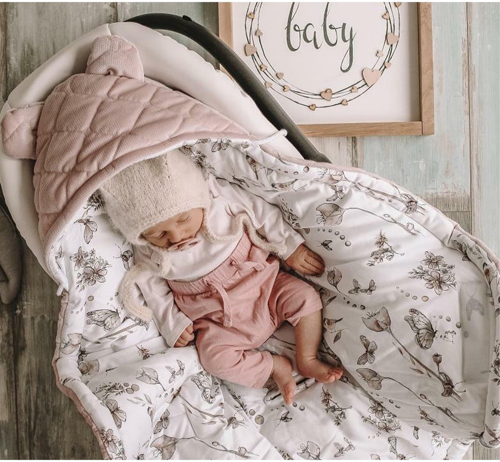Car Seat Blanket - Nature Sepia Rose