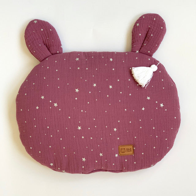 FLAT MUSLIN PILLOW WITH EARS - BLUEBERRY SHINY-BABYLLAMA