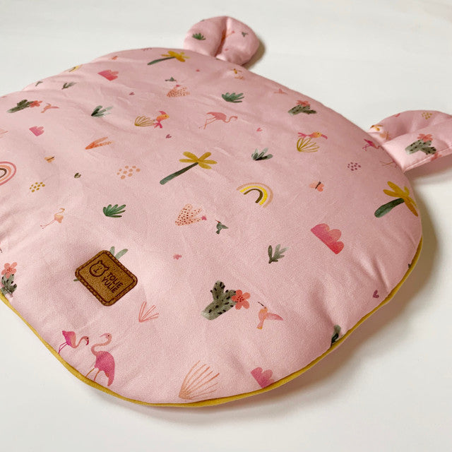 FLAT COTTON PILLOW WITH EARS - JUICY FLAMINGO- BABYLLAMA